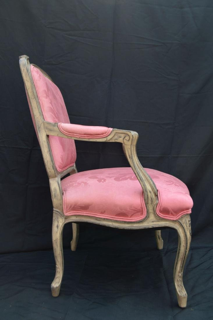 "FRENCH PROVINCIAL CHAIR WITH PINK UPHOLSTERY. 40"" x 24"" - 3"