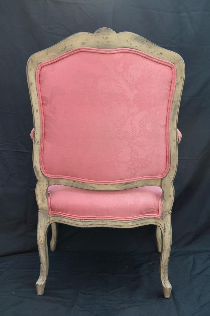 "FRENCH PROVINCIAL CHAIR WITH PINK UPHOLSTERY. 40"" x 24"" - 4"