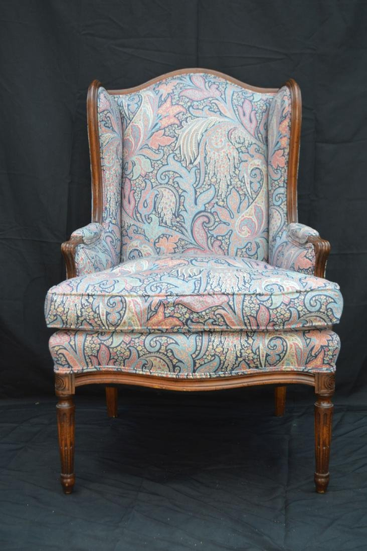 """CHIPPENDALE CHAIR WITH PAISLEY UPHOLSTERY. 42"""" x 24"""" x"""