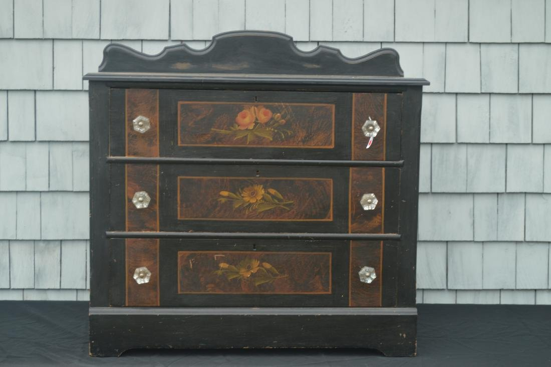 "BLACK PAINTED COTTAGE CHEST WITH FLOWERS. 39""T x 40""W x"