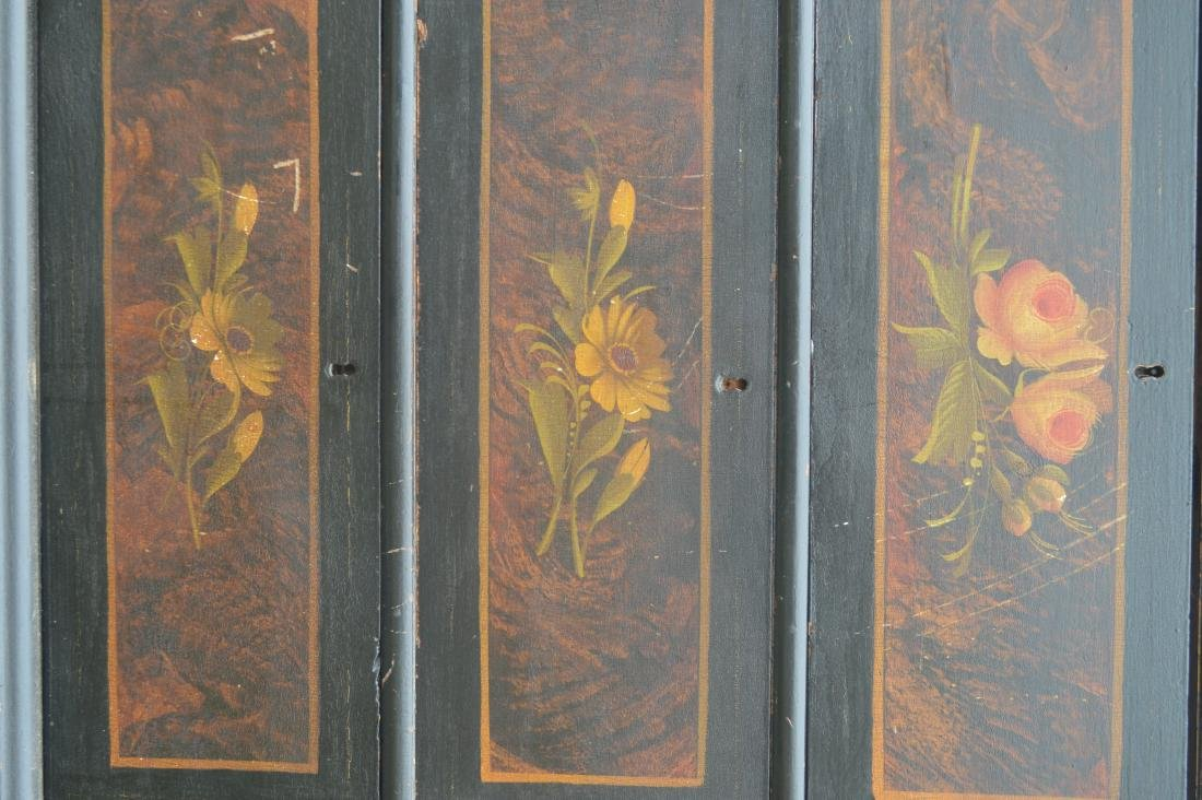 "BLACK PAINTED COTTAGE CHEST WITH FLOWERS. 39""T x 40""W x - 2"