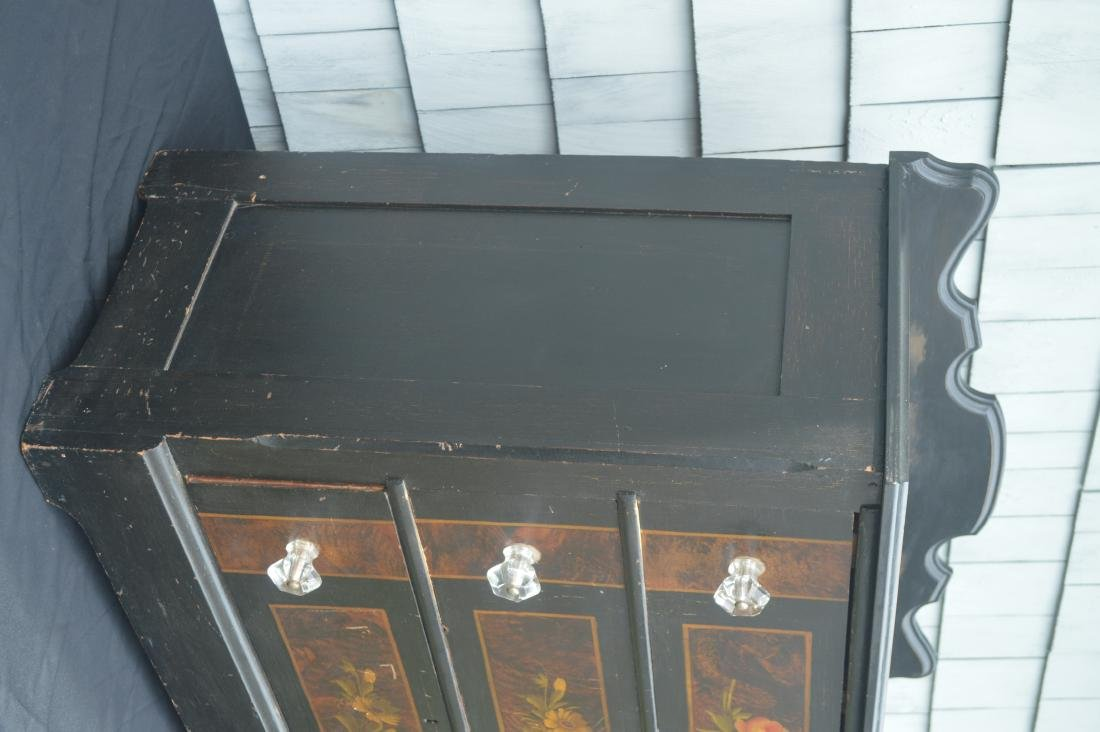 """BLACK PAINTED COTTAGE CHEST WITH FLOWERS. 39""""T x 40""""W x - 3"""