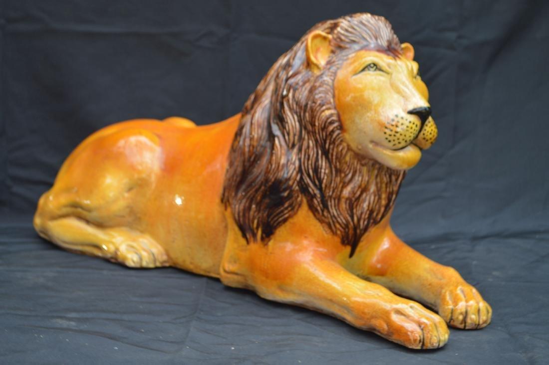 "LARGE ITALIAN MAJOLICA LION. 29""T"