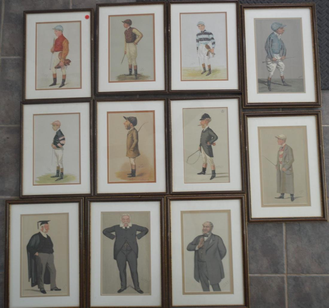 11 SPY PRINTS IN MATCHING FRAMES OF JOCKEYS AND JUDGES.