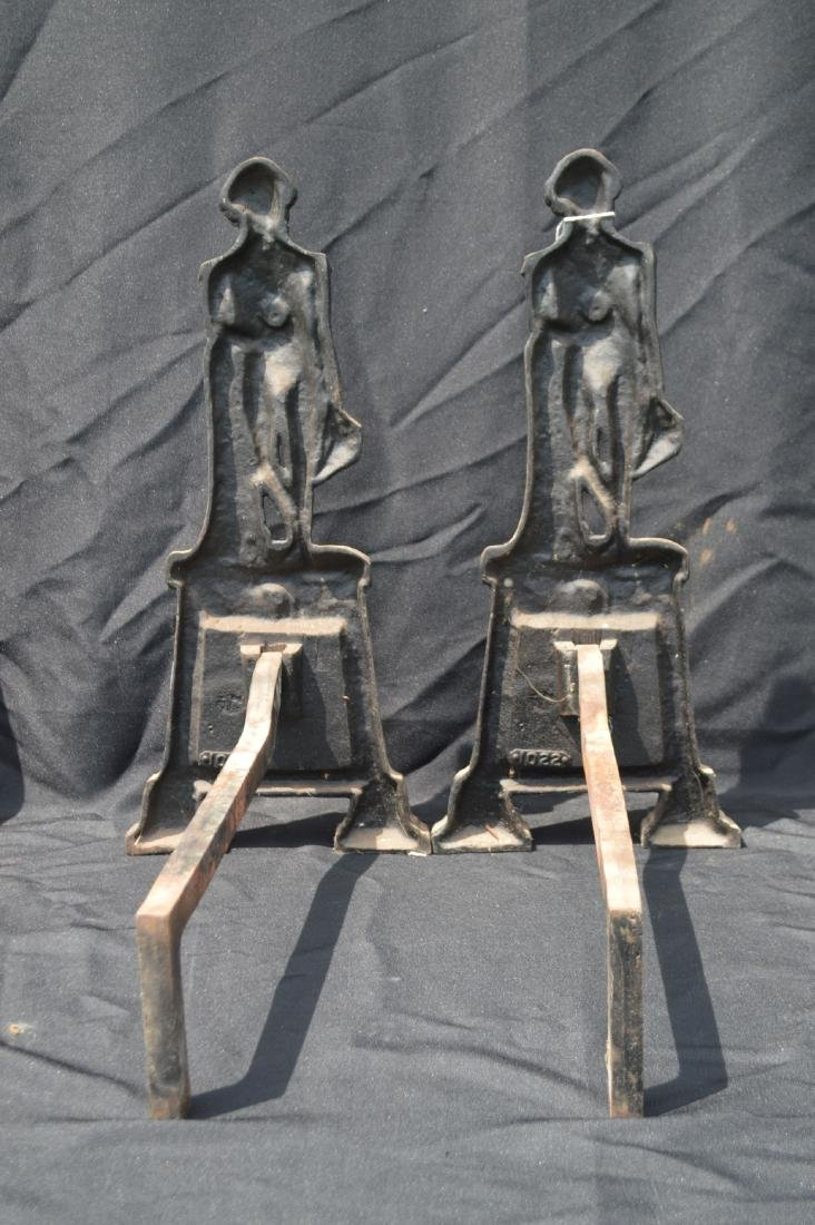 "ANTIQUE GEORGE WASHINGTON ANDIRONS. 20""T x 16""D - 4"