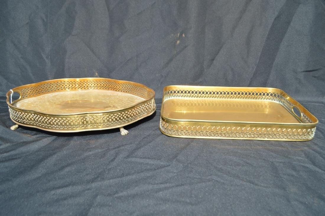 "2 LARGE VINTAGE BRASS SERVING TRAYS. 17"" AND SMALLER"