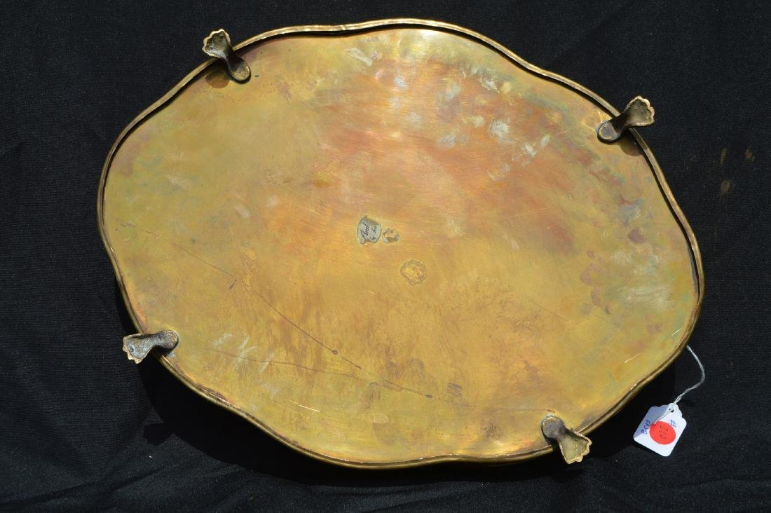 "2 LARGE VINTAGE BRASS SERVING TRAYS. 17"" AND SMALLER - 3"