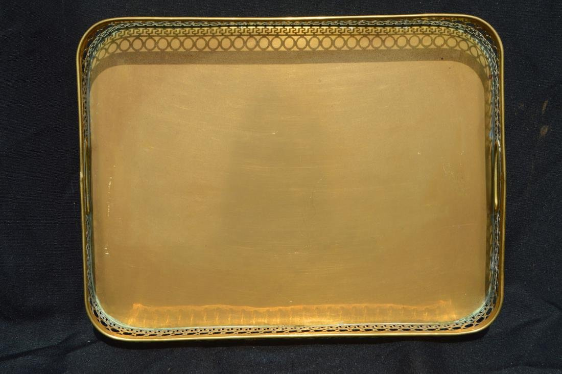 "2 LARGE VINTAGE BRASS SERVING TRAYS. 17"" AND SMALLER - 4"