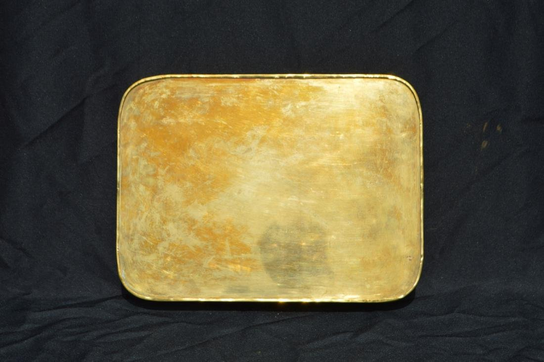 "2 LARGE VINTAGE BRASS SERVING TRAYS. 17"" AND SMALLER - 5"
