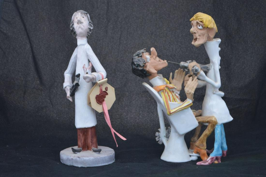 2 CERAMIC FIGURINES OF DENTIST, SIGNED BESSI. 8 1/2""