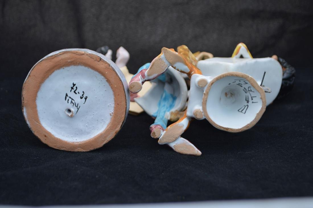"2 CERAMIC FIGURINES OF DENTIST, SIGNED BESSI. 8 1/2"" - 4"