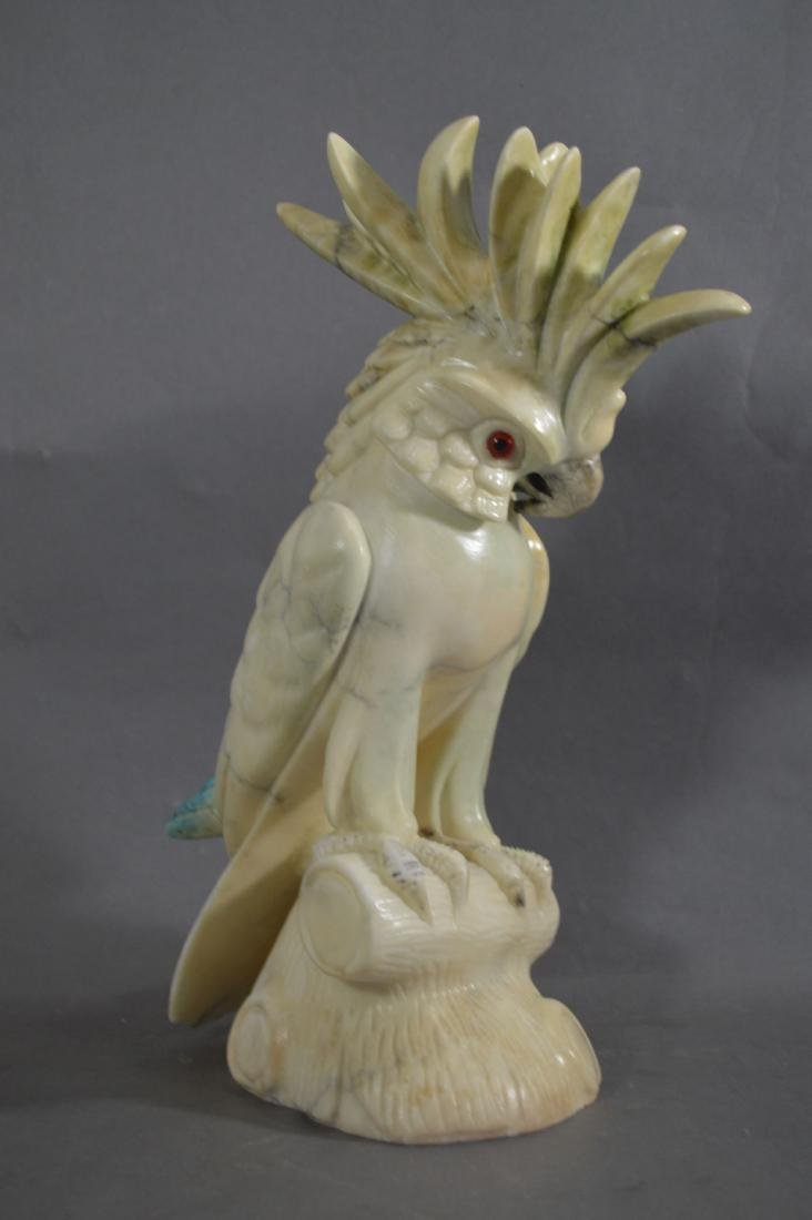 "13"" MARBLE PARROT WITH GLASS EYES. REPAIR AT FRILL"