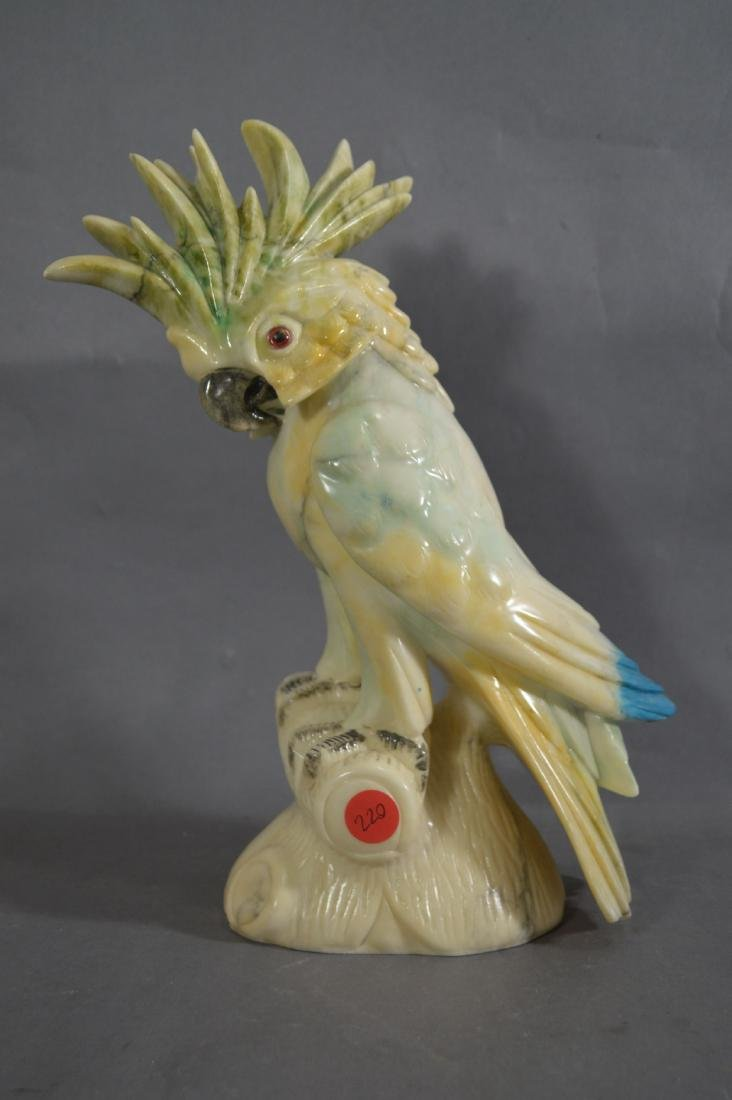 "13"" MARBLE PARROT WITH GLASS EYES. REPAIR AT FRILL - 2"