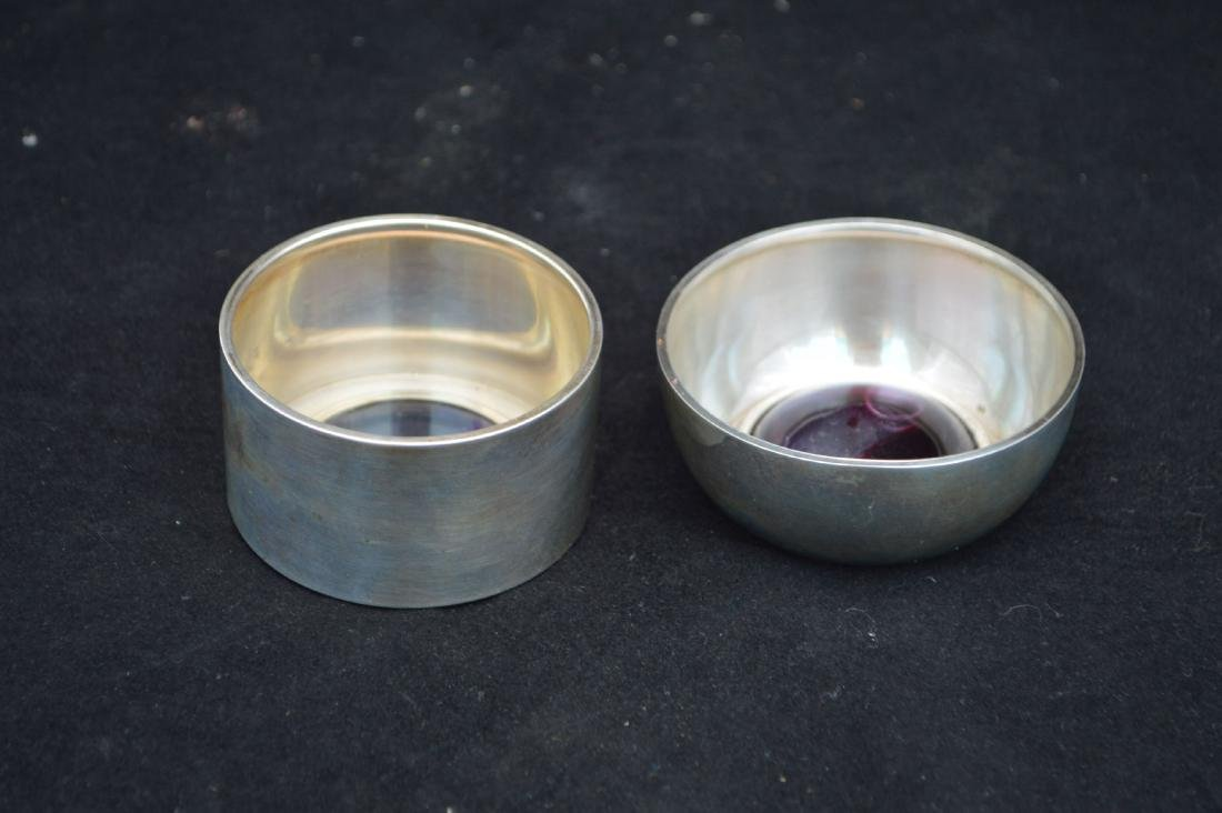2 1972 STERLING AND ART GLASS DISHES, SIGNED