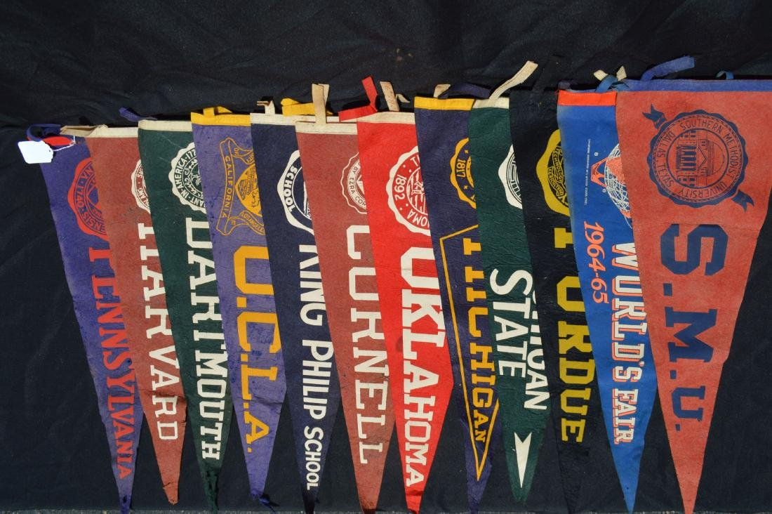 12 ANTIQUE COLLEGE AND HIGH SCHOOL PENNANTS; DARTMOUTH,