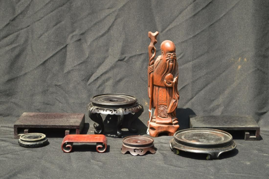 """CARVED CHINESE WOOD IMMORTAL AND 7 STANDS. 12"""" AND"""