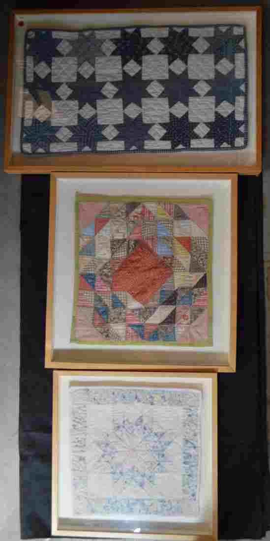 3 FRAMED ANTIQUE QUILTS
