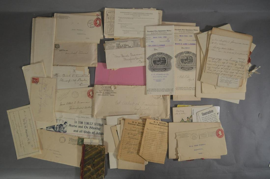 LETTER, DEEDS, BILLHEADS, ETC RELATING TO MANSFIELD CT