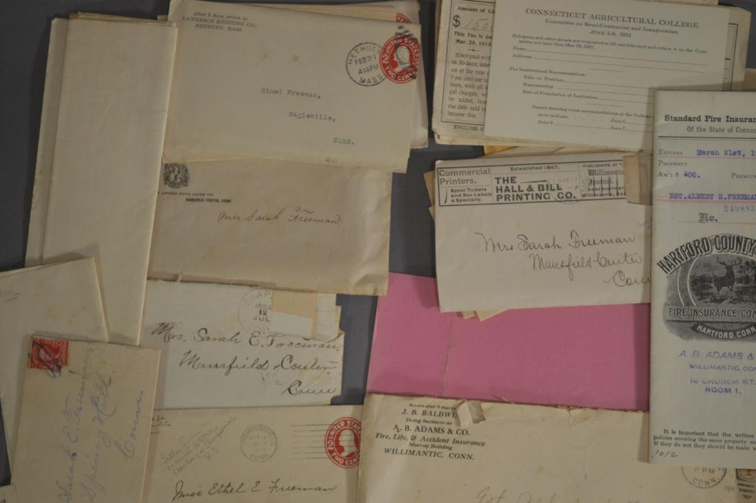 LETTER, DEEDS, BILLHEADS, ETC RELATING TO MANSFIELD CT - 2