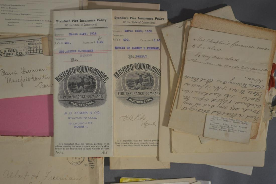 LETTER, DEEDS, BILLHEADS, ETC RELATING TO MANSFIELD CT - 3