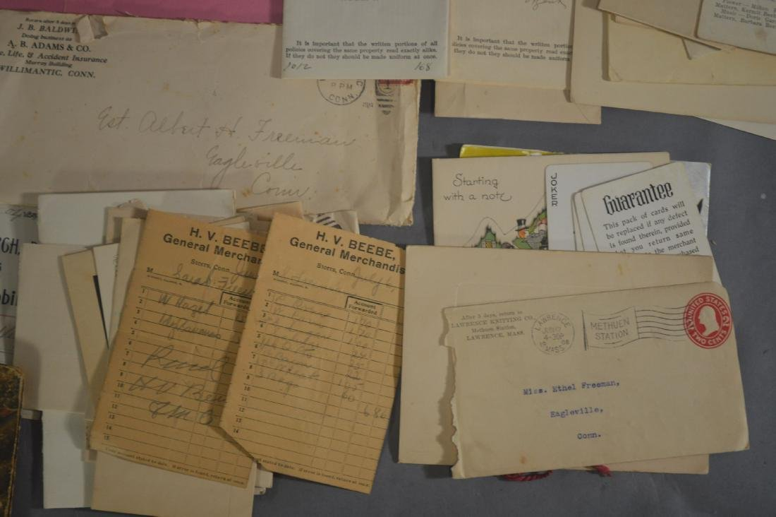 LETTER, DEEDS, BILLHEADS, ETC RELATING TO MANSFIELD CT - 5