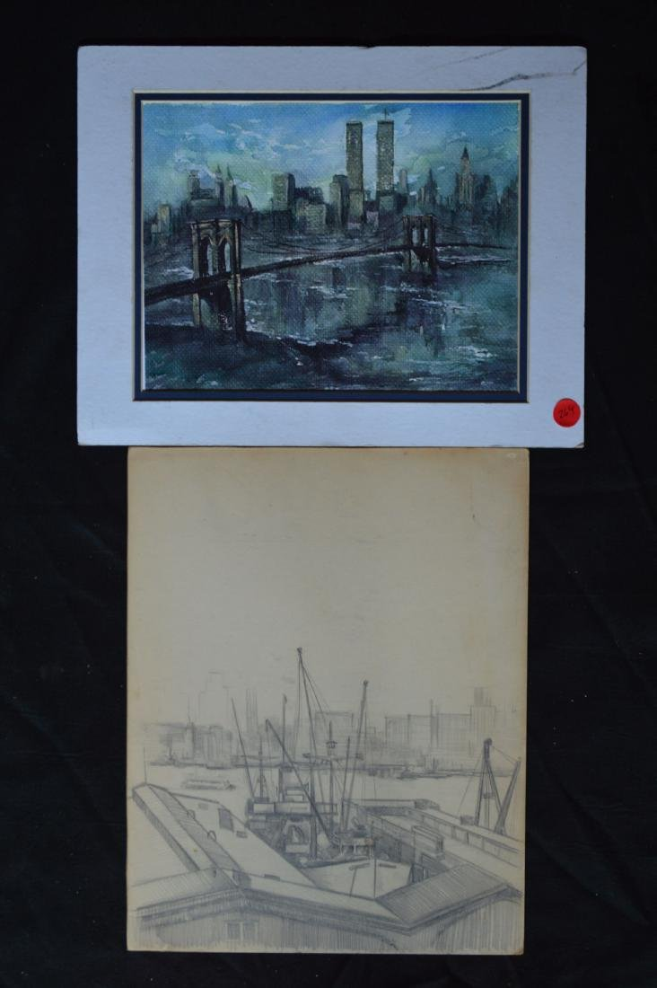 """A WATERCOLOR AND A PENCIL SKETCH OF NYC SKYLINE. 11"""" x"""