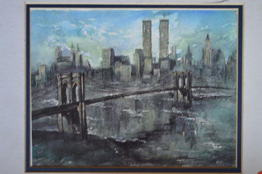 """A WATERCOLOR AND A PENCIL SKETCH OF NYC SKYLINE. 11"""" x - 2"""