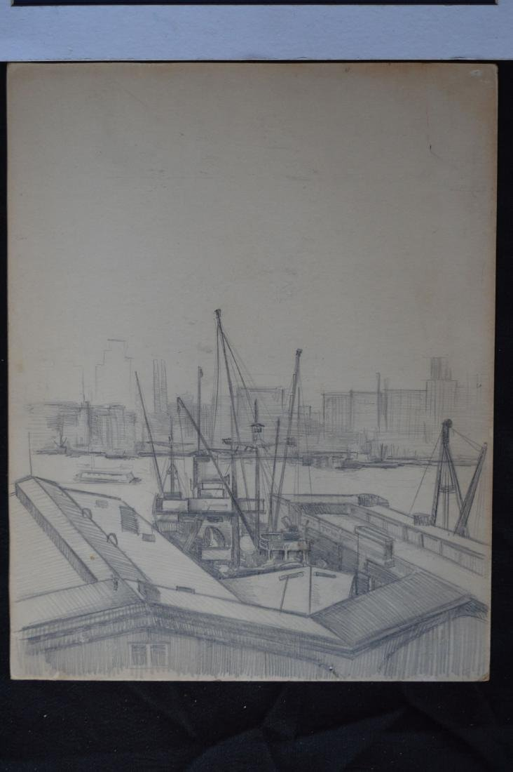 """A WATERCOLOR AND A PENCIL SKETCH OF NYC SKYLINE. 11"""" x - 4"""
