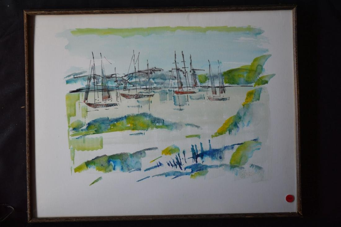 "ALFRED BIRLSEY WATERCOLOR OF BOATS. 25"" x 19"""
