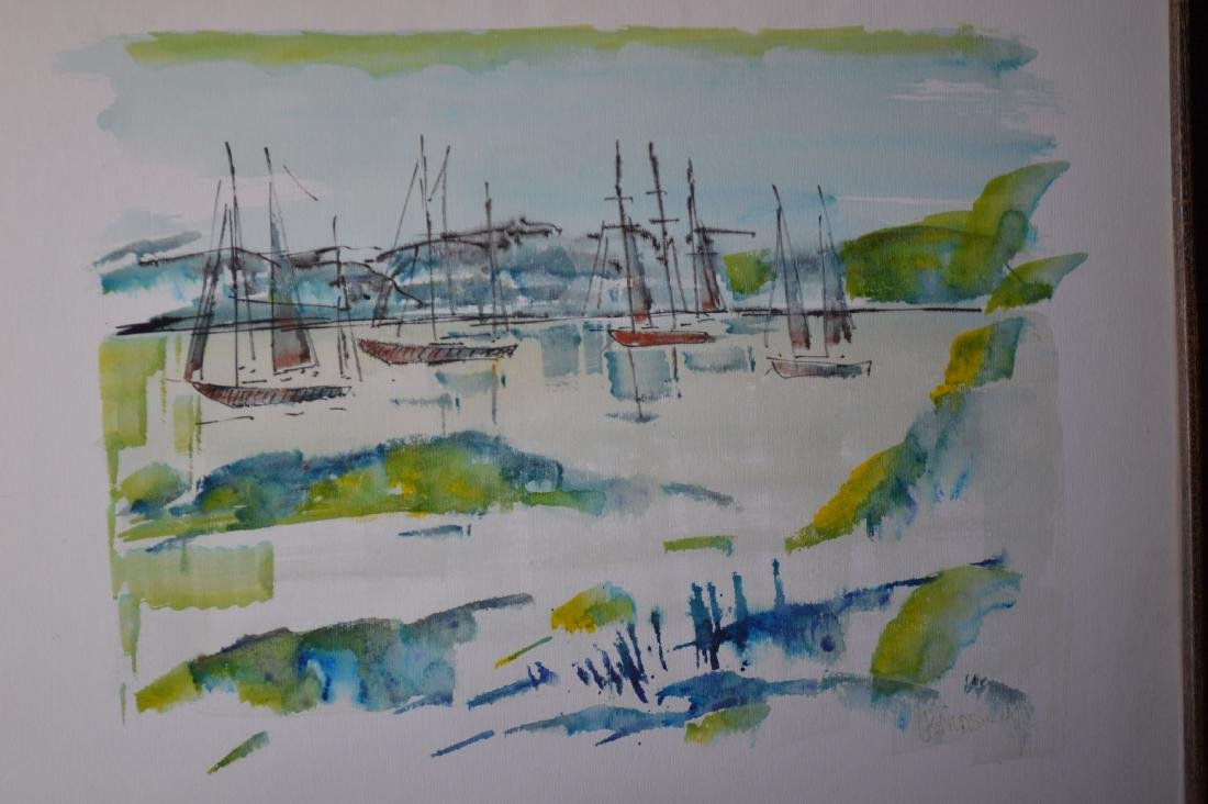 "ALFRED BIRLSEY WATERCOLOR OF BOATS. 25"" x 19"" - 2"