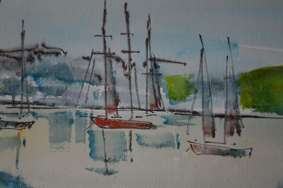 "ALFRED BIRLSEY WATERCOLOR OF BOATS. 25"" x 19"" - 4"