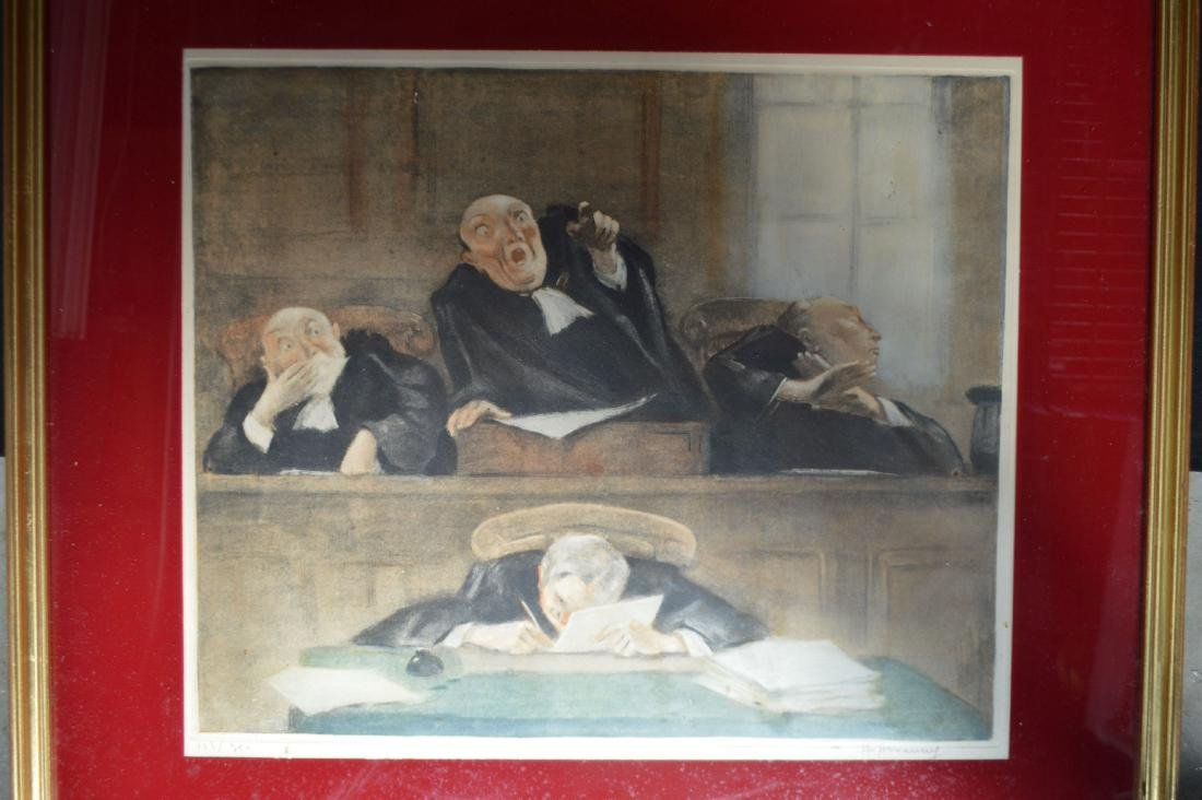 """3 SIGNED AND NUMBERED HOFFMAN COURT PRINTS. 26"""" x 23"""" - 8"""