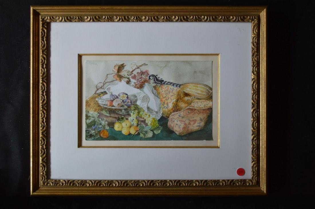 "WATERCOLOR STILL LIFE, SIGNED EBER. 18"" x 24"""