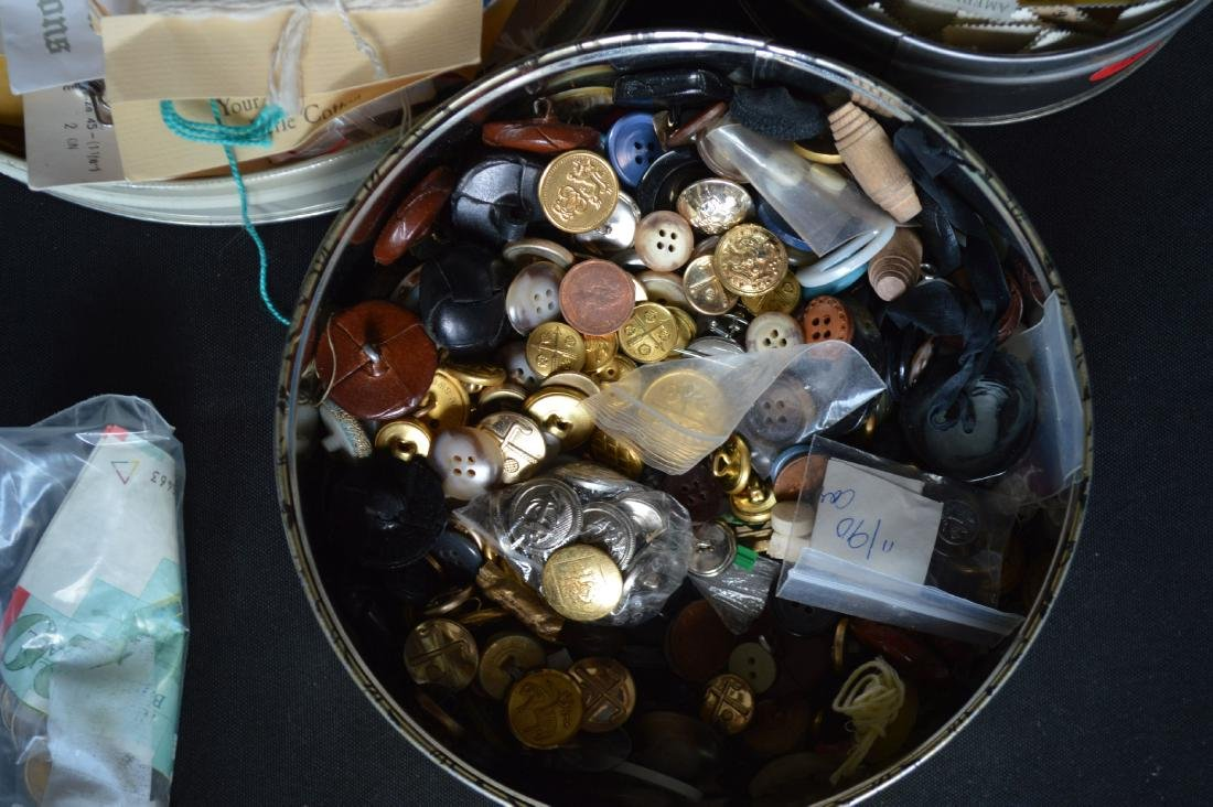 VINTAGE BUTTON AND STAMP LOT - 2