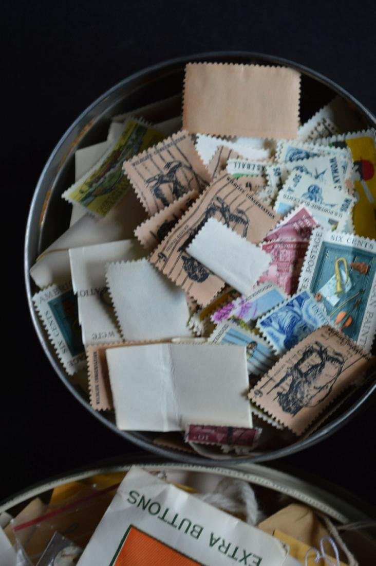 VINTAGE BUTTON AND STAMP LOT - 4