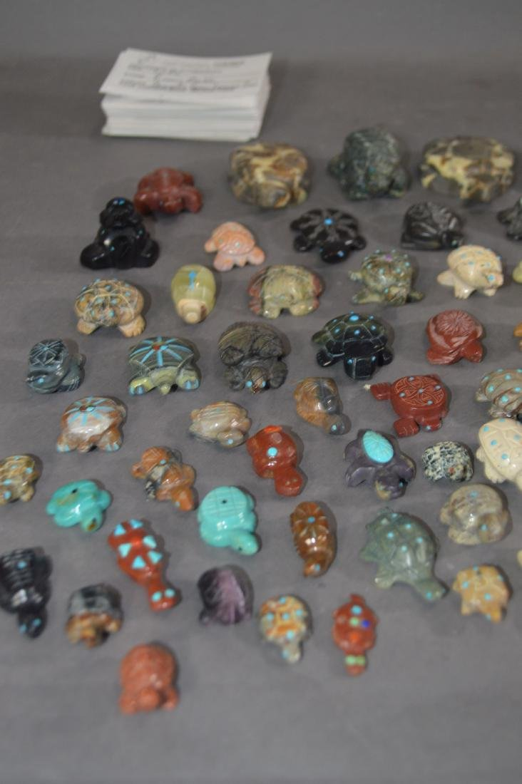 80+ NATIVE AMERICAN CARVED STONE TURTLE FETISHES - 2