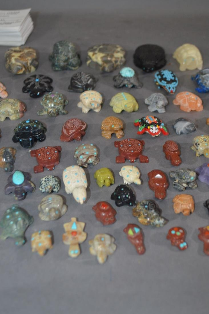 80+ NATIVE AMERICAN CARVED STONE TURTLE FETISHES - 3