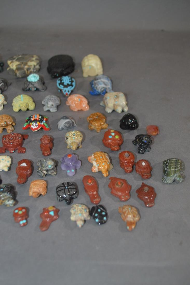 80+ NATIVE AMERICAN CARVED STONE TURTLE FETISHES - 4