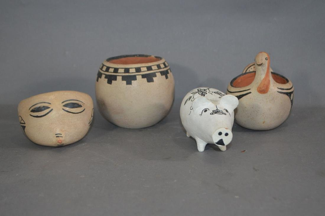 """4 PIECES OF NATIVE AMERICAN POTTERY. 5"""" AND SMALLER"""