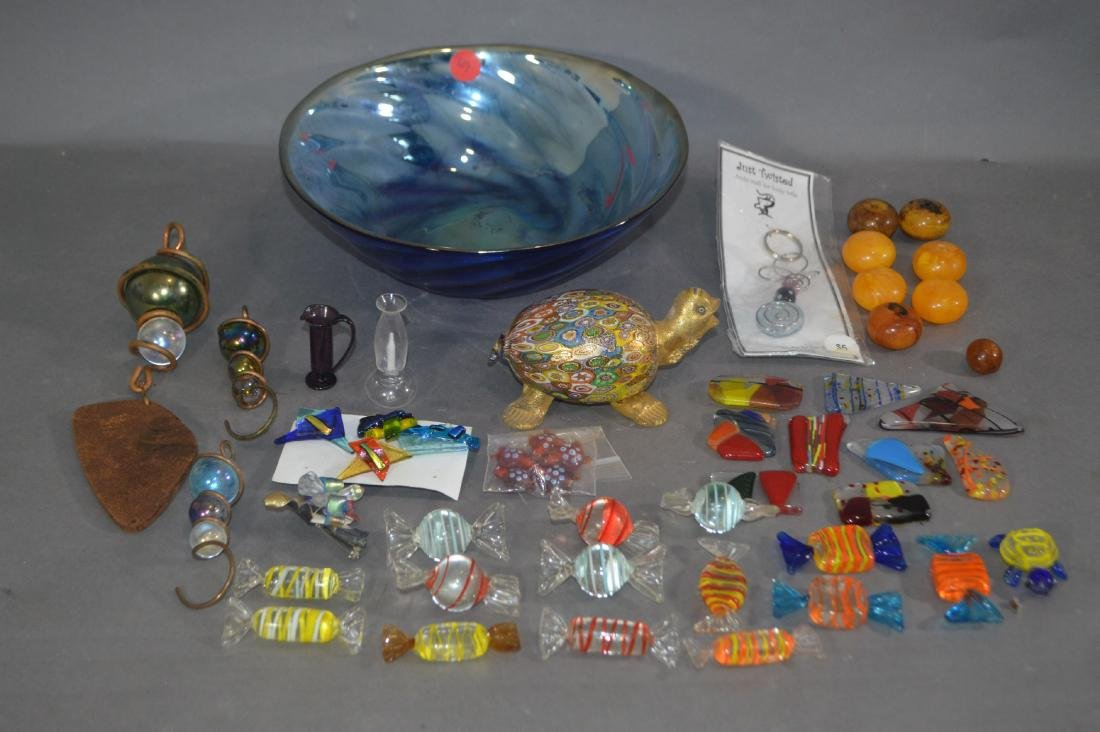 MILLIFIORE TURTLE, ART GLASS BOWL AND OTHER ART GLASS