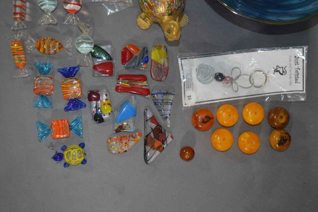 MILLIFIORE TURTLE, ART GLASS BOWL AND OTHER ART GLASS - 3