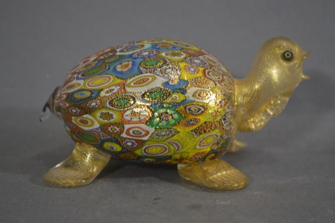 MILLIFIORE TURTLE, ART GLASS BOWL AND OTHER ART GLASS - 4