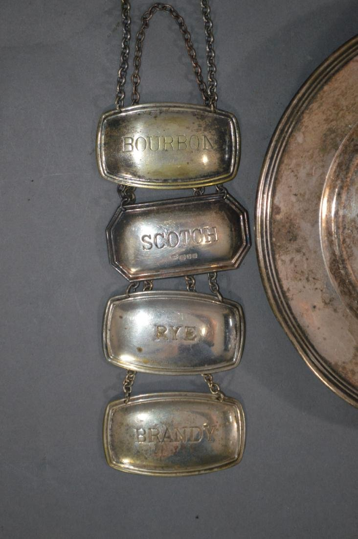 7 PIECES OF STERLING SILVER, INCLUDES 4 LIQUOR LABELS - 2