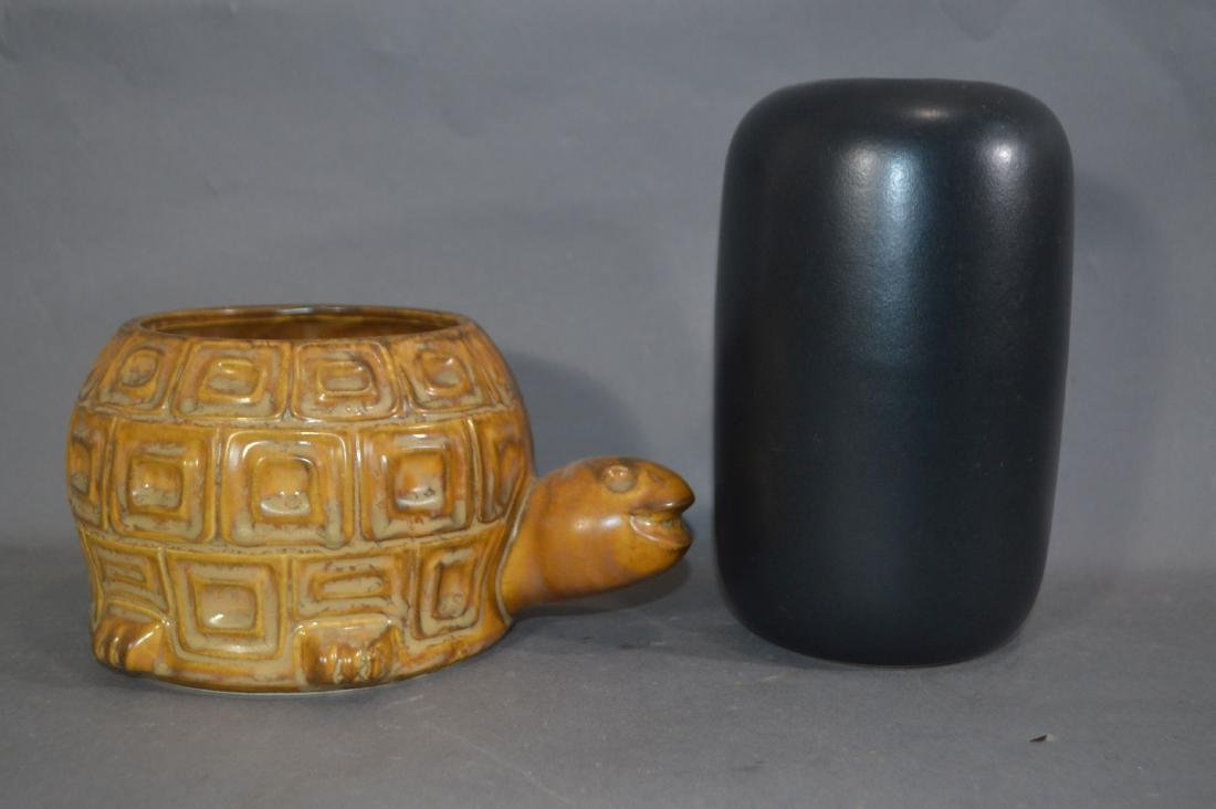 McCOY TURTLE PLANTER AND BENNINGTON POTTERY VAS2. 10""