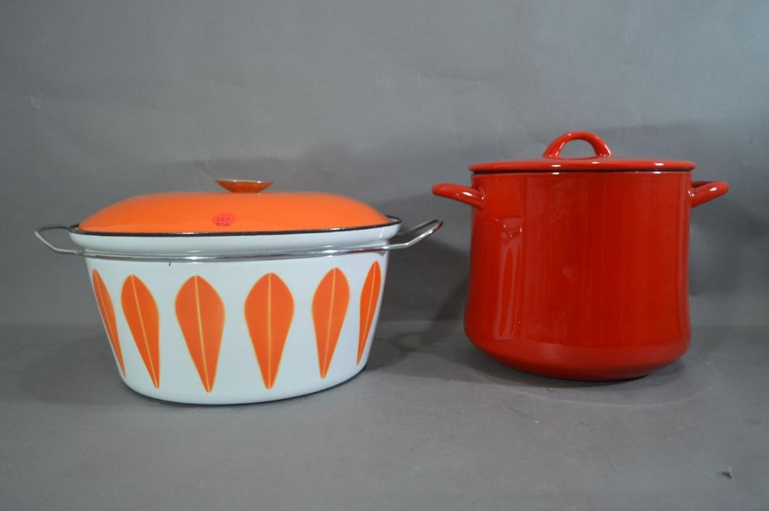 KATHERINE HOLM STEW POT AND ENAMELED DANSK STOCK POT.