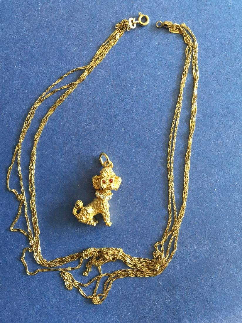 14K GOLD CHAIN WITH GOLD FILLED POODLE PENDANT