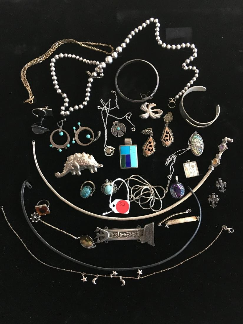 LARGE LOT OF MOSTLY STERLING SILVER JEWELRY