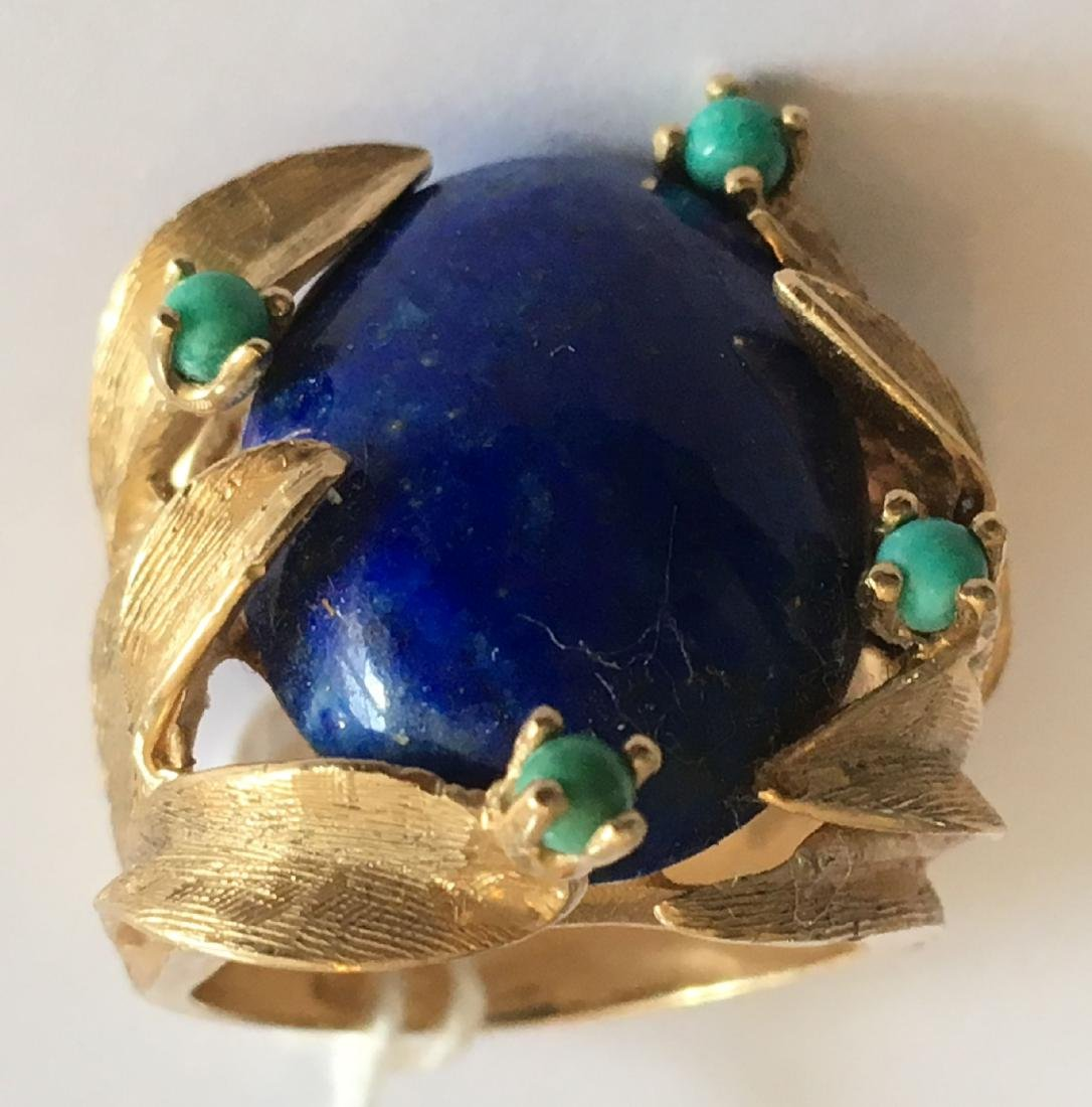 LARGE 13.8 GRAM 14K GOLD RING WITH LAPIS AND TURQUOISE