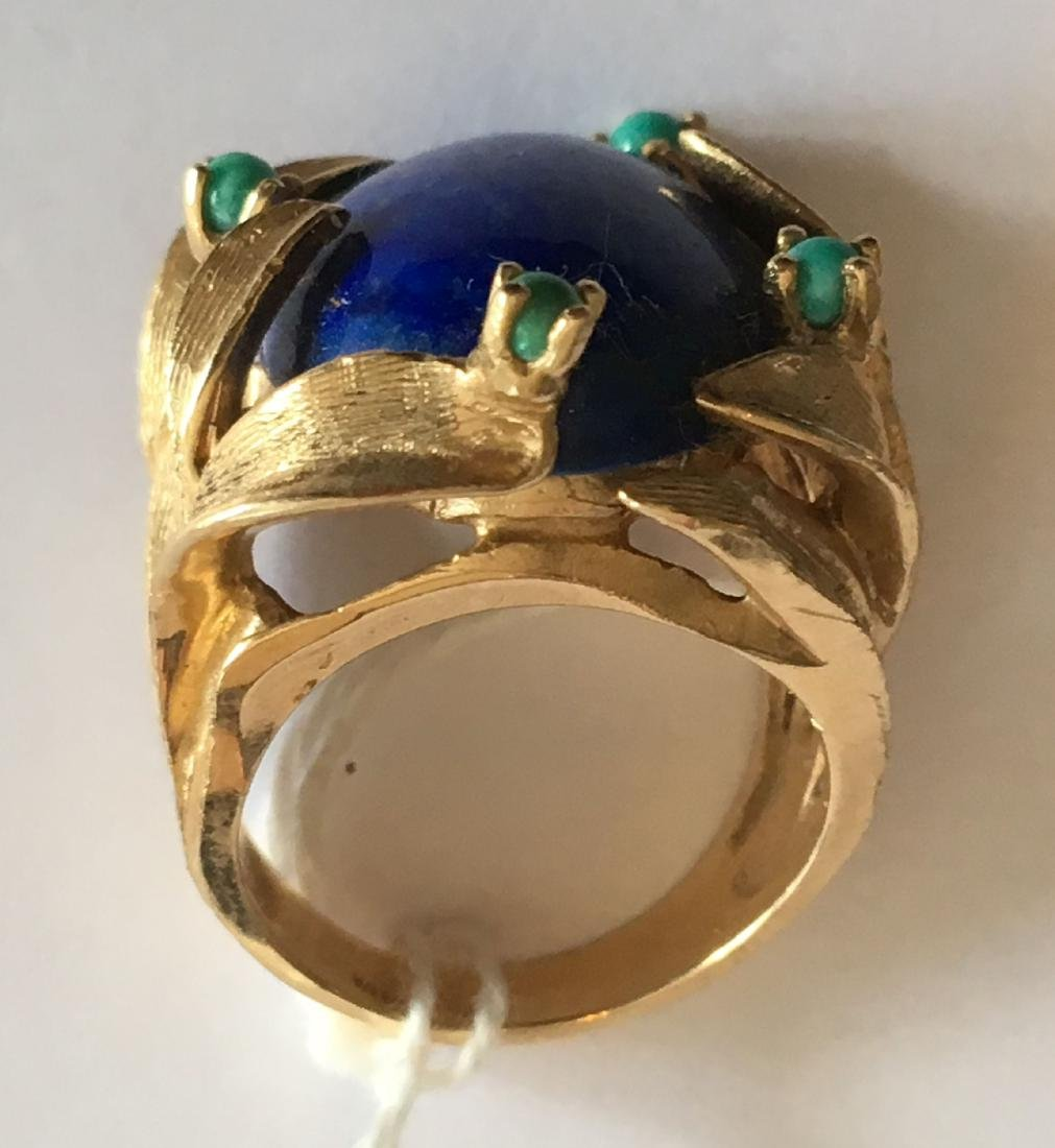 LARGE 13.8 GRAM 14K GOLD RING WITH LAPIS AND TURQUOISE - 2