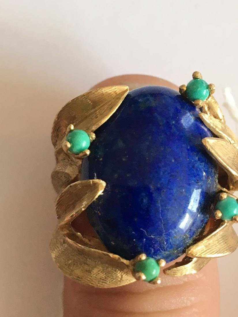 LARGE 13.8 GRAM 14K GOLD RING WITH LAPIS AND TURQUOISE - 4